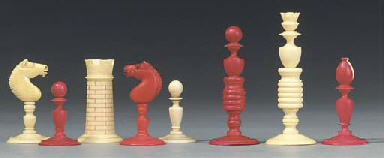 An English ivory turned chess