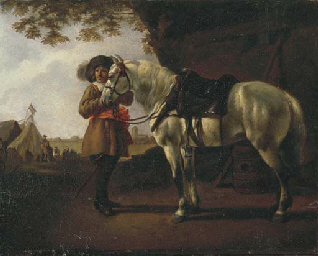 Cavaliere in sosta presso un a