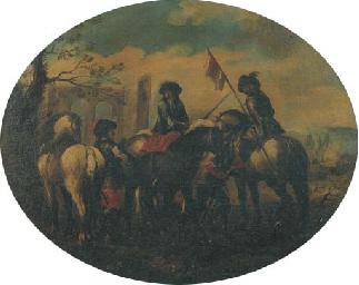 Cavalieri in sosta presso rovi