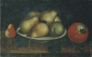 Pere e mele in un piatto, e un