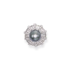A NATURAL BLACK PEARL AND DIAM