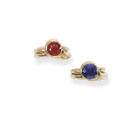 A PAIR OF RUBY AND SAPPHIRE RI