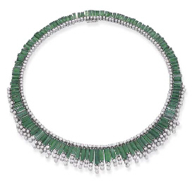 AN EMERALD AND DIAMOND FRINGE