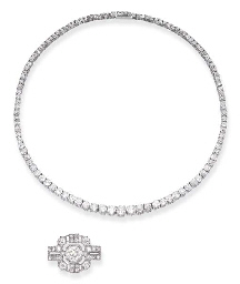 A DIAMOND RIVIERE NECKLACE AND