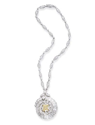 A FANCY YELLOW DIAMOND PENDANT