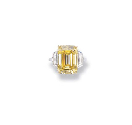 AN IMPORTANT FANCY VIVID YELLOW DIAMOND RING