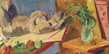 Still life with clay figure