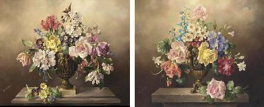 Summer flowers in a bronze urn
