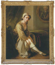 A young woman, in a fawn dress