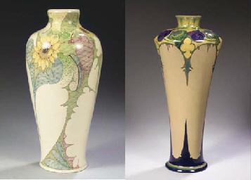 (2) A large glazed pottery vas