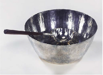 (2) A silver punchbowl and lad