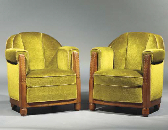 (2) A pair of carved mahogany