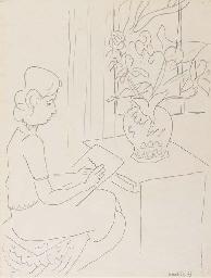 Annelies dessinant des fleurs