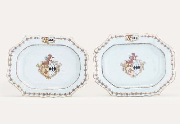 A PAIR OF ARMORIAL OBLONG OCTA