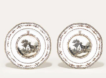 A PAIR OF SEPIA AND GILT CREST