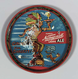 [SEUSS, Dr.] Narragansett Lager & Ale tray illustrated by Dr. Seuss, manufactured by American Art Works, Inc., Coshocton, Ohio, 1940s, 12 in. diameter. (Surface rubbed with some loss of image.)