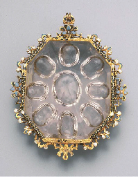 A GOLD AND ENAMEL-MOUNTED ROCK