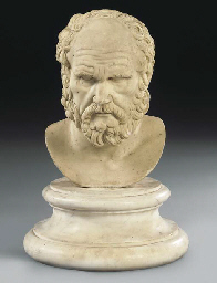 A CARVED MARBLE BUST OF SOCRAT