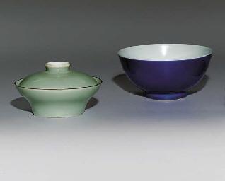 A BLUE-GLAZED BOWL; AND A CELA