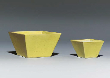 TWO YELLOW-GLAZED SQUARE BOWLS