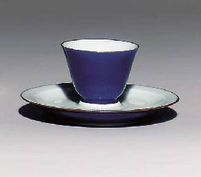 A BLUE-GLAZED WINE CUP AND SAU