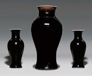 THREE MIRROR-BLACK-GLAZED VASE