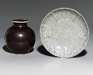 A SMALL GE-TYPE FLORAL DISH; A