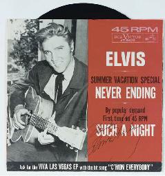 ELVIS PRESLEY SIGNED 45 RECORD