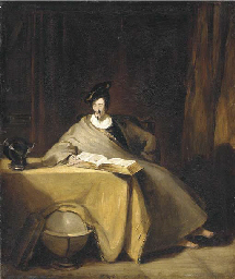 An elegant figure seated at a
