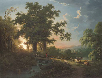 A wooded river landscape, with