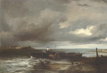 An estuary scene with figures