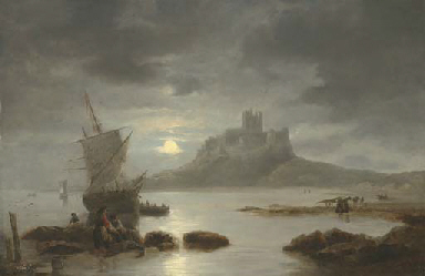 Bamburgh Castle by moonlight,