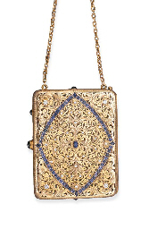 AN ANTIQUE GOLD, SAPPHIRE AND