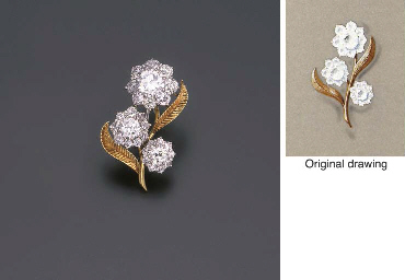 A DIAMOND FLORAL BROOCH, MOUNT