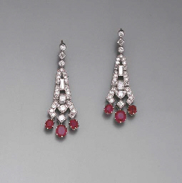 A PAIR OF ART DECO RUBY AND DI