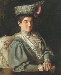 Portrait of a lady, seated hal