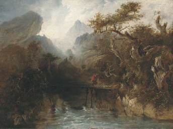 A figure crossing a gorge with