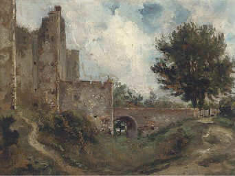 A castle with a dry moat
