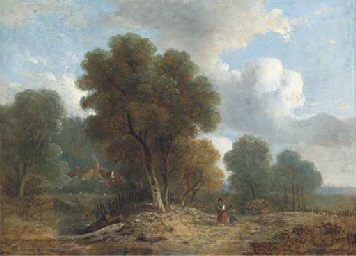 Figures on a wooded track, a c