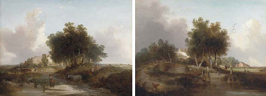 Figures in a river landscape,