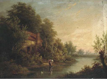 Figures by a cottage in a rive