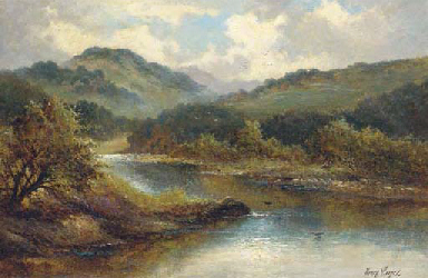 A serene river landscape, with