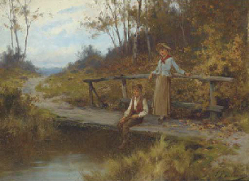 Fishing from the bridge; and T
