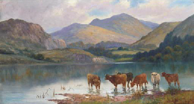 Cattle watering in a loch land