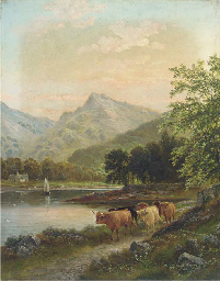 Highland cattle by a river, ne