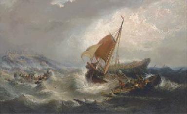 Salvaging the wreck below Duns