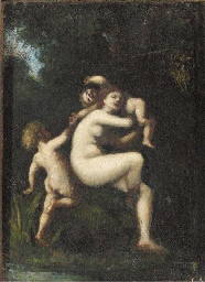 A nymph with two cherubs