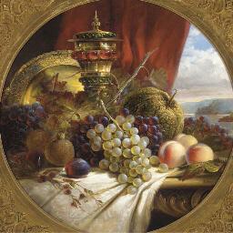 Grapes, peaches, pomegranates,