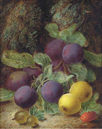 Still life of plums, gooseberr