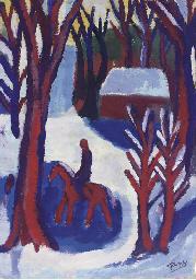 Eenzame ruiter in winterbos